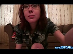 Expcam - Nerdy Girl Strips And Masturbates on W...