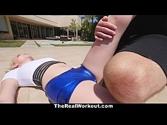 TheRealWorkout - Busty Bouncy Football Teen Gargles On Balls
