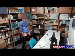 Black teen Daya Knight bent over desk and fucke...