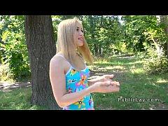 Blonde teen sucking big cock in public park