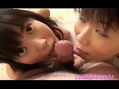 Kozue and Natsuki double teams a cock