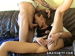 Amateur Milf toys her pussy, sucks and fucks wi...