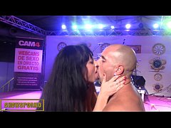 Brunette pornstar anal fuck on stage