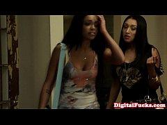 Latina ffm threeway babes share cock and jizz