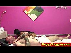 Asian handjob masseuse pulling dick