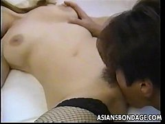 Sweet Japanese babe has her tender pussy licked...