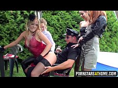 European pornstars in orgy with policeman