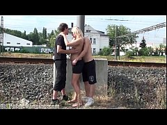 Cum on a MILF face in public gang bang threesome orgy by a train station