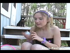 18yo Kitty hunting for Easter eggs in a miniskirt