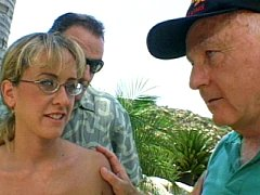 Horny brunette slut getting double cock fucked