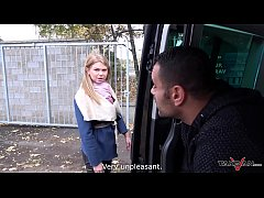 Takevan Stranger offer a ride to cute lost blon...