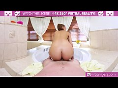 VR PORN- Hot Brunette Fuck and Suck In the Hot Tub