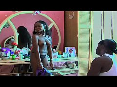 big titted ebony actress walks around naked on moive set at end of video