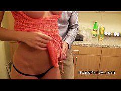 Kitchen foursome party with two sexy amateurs