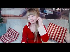 Cute russian teen playing with dildo on livestr...