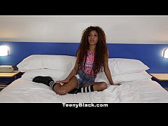 TeenyBlack - Petite Ebony Does Splits While Rid...
