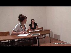 French students hard ass fucked and fisted in FFM threesome in classroom