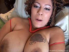 Beautiful big tits black BBW fucks her fat juic...
