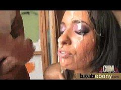 Ebony girlfriend takes huge loads of cum on her face 1