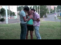 Cute young blonde teen girl public street sex g...