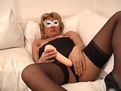 Mature and chubby blonde has solo sex