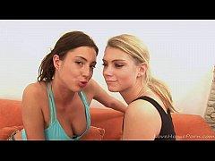 Cute lesbian blonde gets eaten by her girlfriend