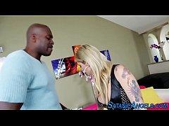 Tattooed blonde rides bbc