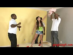 Cute teen bitch gets her tight ass railed by bl...