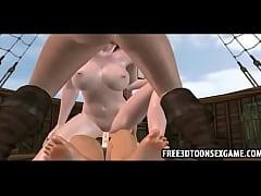 Sexy pirate 3d cartoon babes sucking cock on a ...