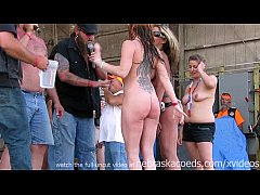watch these girls get buck wild on stage at an iowa biker rally