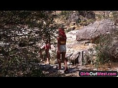 Girls Out West - Lesbian Aussie hitchhiker lick...