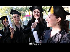 BFFS - Celebrating Graduation With Lesbian Threesome