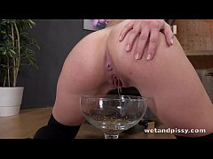 Kinky girl drinks her own piss in this solo scene