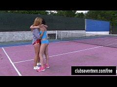 Busty lesbians masturbating on the tennis field