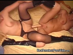 Pretty blonde lesbians play with a double ended...