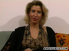 Amateur Milf toys and strokes a dick with cum o...