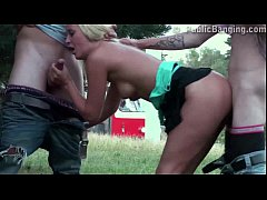 Young teens PUBLIC street orgy threesome with a...