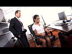 Horny secretary fucked on her desk in lingerie