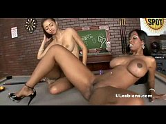 Horny black lesbian girlfriends play with big v...