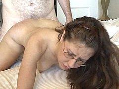 Brunette gets fucked in bed hardcore
