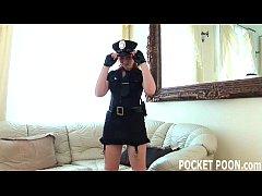 Redhead cop masturbating in uniform