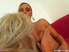 Ass Traffic Blonde lesbo scene followed by doub...