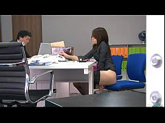During an office break Maki Hojo toys her pussy...