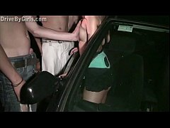 Young blonde teen girl is undressing in a car o...