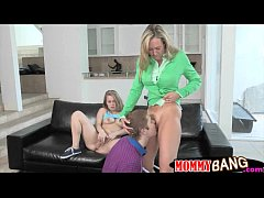 Teen girl threesome sex with her stepmom Brandi...