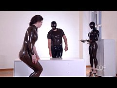 Latex Couple dominate their submissive till she...