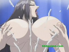 Busty hentai slut gives blowjob and gets both holes drilled with facial