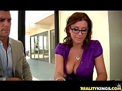 Sara Stone bares her tits and takes a nice poun...
