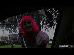 Teen Natalie Monroe with pink hair finds a ride...