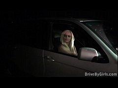 Public car gang bang orgy through car window several strangers and a blonde girl